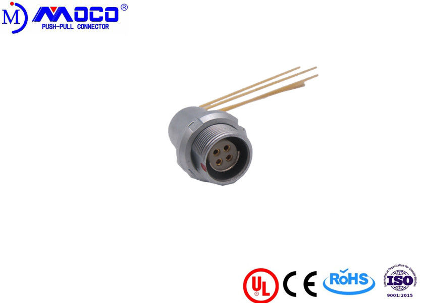 M14 4 Pin Round Power Connector With Elbow Contacts For PCB 100 G Shock Resistance